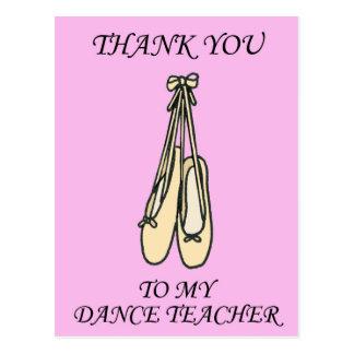 Postal Gracias bailar al profesor, zapatos de ballet