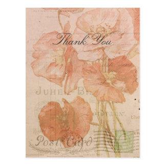 Postal Gracias collage rosado rojo del estilo del vintage