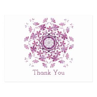 Postal Gracias. Elemento púrpura floral