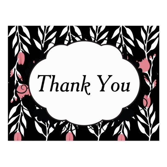 Postal Gracias floral y negro rosados