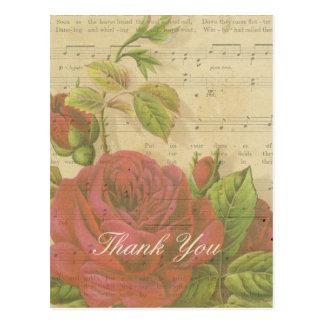 Postal Gracias hoja de música floral de los rosas rojos