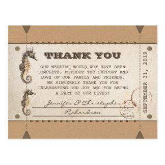 Postal gracias los boletos del vintage por bodas