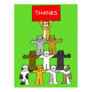 Postal Gracias por el navidad regalo, gatos del dibujo