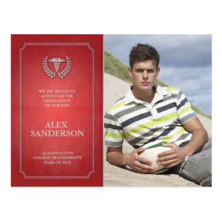Postal Graduación roja y de plata Photocard de la
