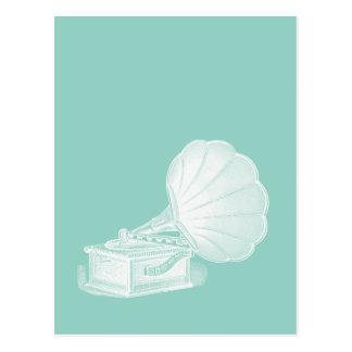 Postal Gramófono blanco del verde de mar del fonógrafo