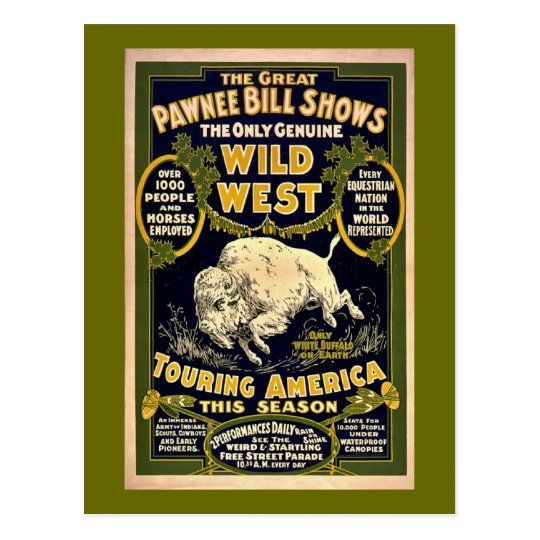 Postal Gran Pawnee Bill 1903 - oeste salvaje del vintage