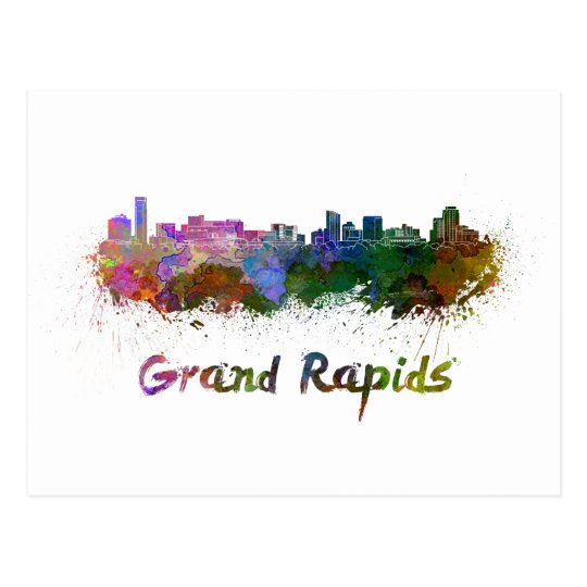 Postal Grand Rapids skyline in watercolor