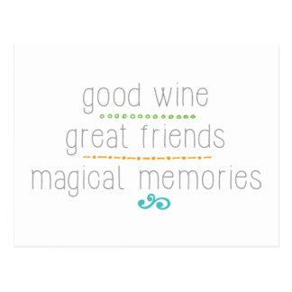 Postal grandes amigos del buen vino, memorias mágicas