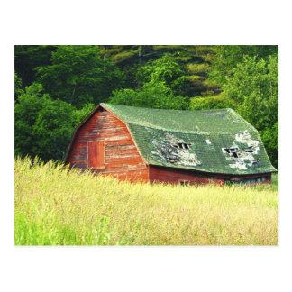 Postal Granero en el Adirondacks, N.Y. del vintage