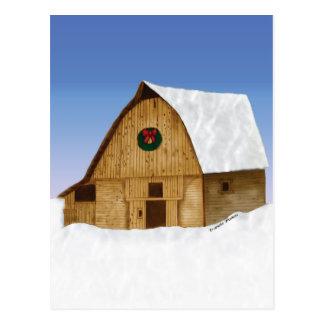 Postal Granero Nevado Nueva Inglaterra en invierno