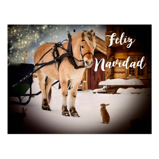 Postal Granja de la noche de navidad de Feliz Navidad con