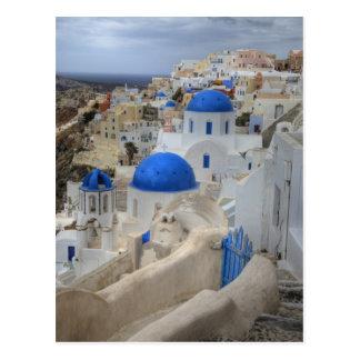 Postal Grecia, Santorini. Campanario y bóvedas azules de