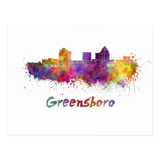 Postal Greensboro skyline in watercolor