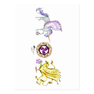 Postal griffon del unicornio de la esencia del espiral