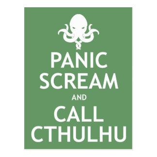 Postal Grito y llamada Cthulhu del pánico