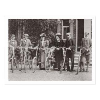 Postal Grupo de bicyclists de Edwardian, 1900s tempranos
