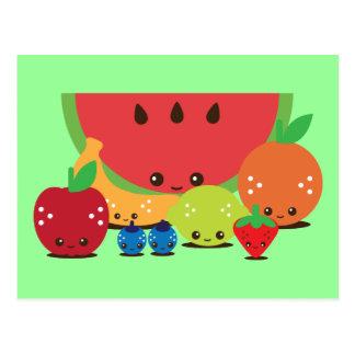 Postal Grupo de la fruta de Kawaii
