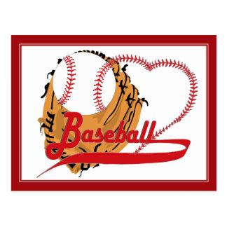 Postal Guante de béisbol y corazón del béisbol