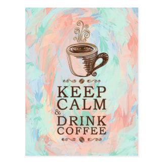 Postal Guarde el café tranquilo de la bebida - fondo