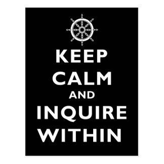 Postal Guarde la calma e investigue dentro