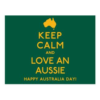 Postal ¡Guarde la calma y ame Aussie!