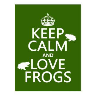 Postal Guarde la calma y ame las ranas (cualquier color