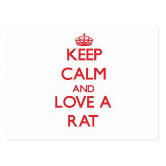 Postal Guarde la calma y ame una rata