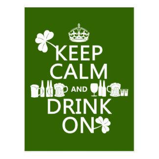 Postal Guarde la calma y beba en (los patricks irlandeses