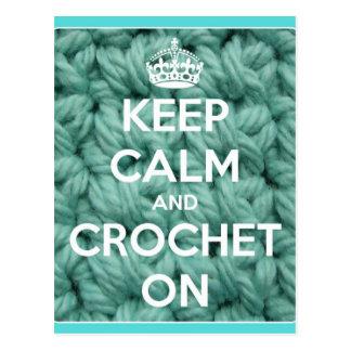 Postal Guarde la calma y Crochet en azul
