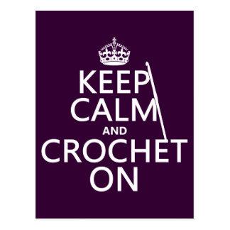 Postal Guarde la calma y Crochet encendido