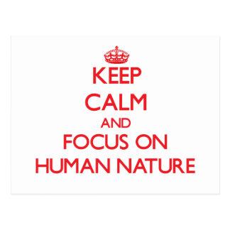 Postal Guarde la calma y el foco en la naturaleza humana