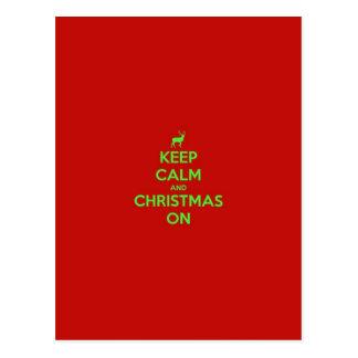 Postal Guarde la calma y el navidad encendido