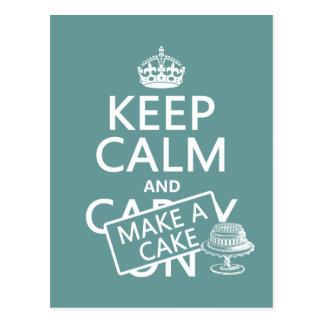 Postal Guarde la calma y haga una torta