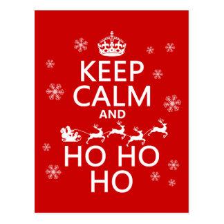 Postal Guarde la calma y Ho Ho Ho - navidad/Santa
