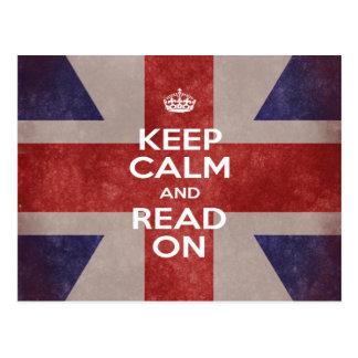 Postal - guarde la calma y lea en Union Jack