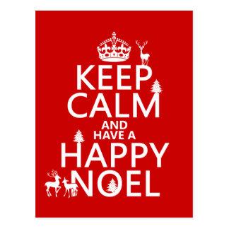 Postal Guarde la calma y tenga un Noel feliz (el navidad)