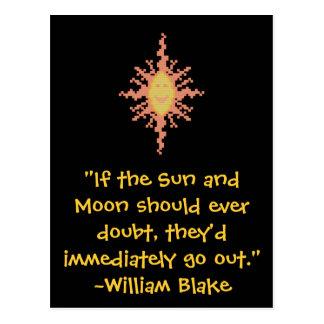 Postal Guillermo Blake Sun y cita de la luna