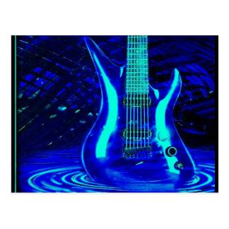 Postal Guitarra azul de neón