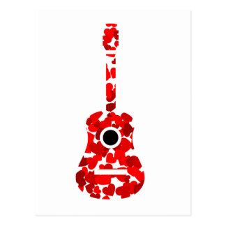 Postal Guitarra con los corazones rojos