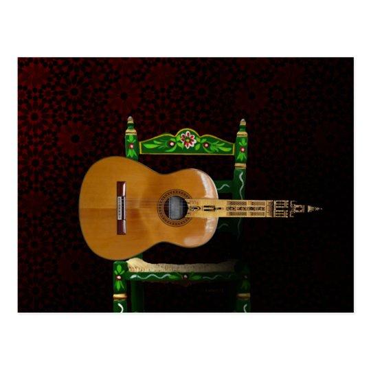 Postal Guitarra española con Giralda de Sevilla y silla.