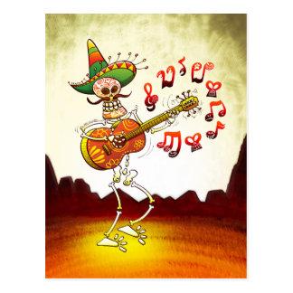 Postal Guitarra que juega esquelética mexicana