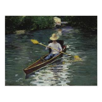 Postal Gustave Caillebotte - canoa en el Yerres