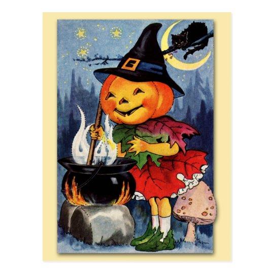 Postal ¡Hada de la cabeza de la calabaza de Halloween!