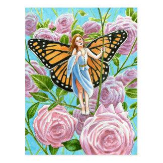Postal Hada del monarca entre los rosas