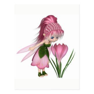 Postal Hada rosada linda del azafrán de Toon, haciendo