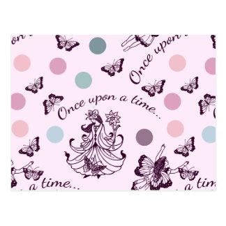 Postal Hadas rosadas, mariposas y lunares coloridos