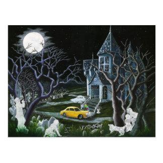 Postal Halloween, fantasmas, frecuentó, contiene, mansión
