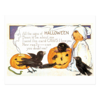 Postal Halloween pasado de moda, cuervo