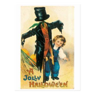 Postal Halloween pasado de moda, espantapájaros y niño