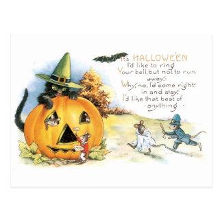 Postal Halloween pasado de moda, gato negro y ratones